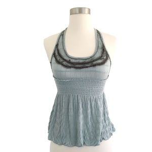 Free People Light Blue Lace Halter Top Size Small
